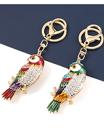 Fashion Blue Color Alloy Oil Dripping Diamond Owl Pendant