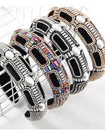Fashion Black Wide-brimmed Sponge Headband With Diamonds And Pearls