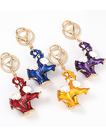 Fashion Red Alloy Dripping Elephant Pendant