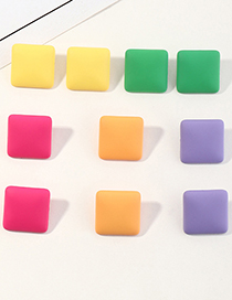 Fashion Yellow Candy Color Geometric Square Stud Earrings