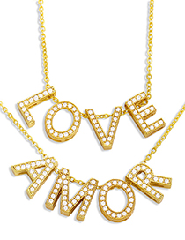 Fashion A Love Amor Necklace With Zircon Letters