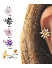 Fashion Purple Zircon Micro Inlaid Sunflower Stainless Steel Earrings
