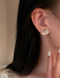 Fashion Golden Pearl Bow Earrings With Diamonds And Zircon