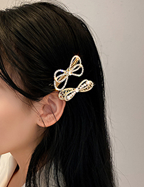 Fashion Golden Pearl Diamond-studded Pearl Bow Hairpin