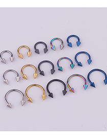 Fashion Steel Color Stainless Steel Pointed Cone C-shaped Lip Ring