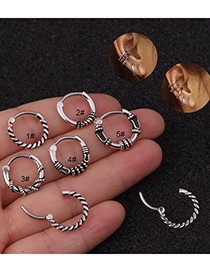 Fashion Ancient Silver 1# Piercing Round Twist Stainless Steel Nose Ring
