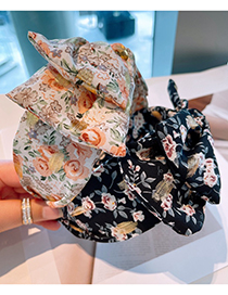 Fashion Black Floral Double Bow Headband