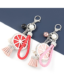 Fashion Turquoise Artificial Leather Round Diamond Tassel Keychain