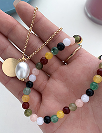 Fashion Color Alloy Chain Resin Bead Double Necklace