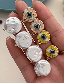 Fashion Pink Alloy Pearl Eye Stud Earrings