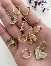 Fashion Gold Color Copper Inlaid Zircon Moon Earrings