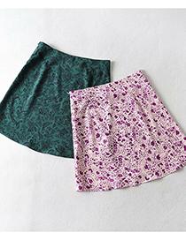 Fashion Dark Green Small Floral A-line Skirt