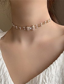 Fashion Gold Color Double Layer Necklace With Pearl And Diamond Bow