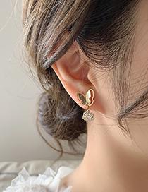 Fashion Gold Color Rhinestone Butterfly Flower Earrings
