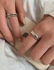 Fashion Silver Color Two-piece Open Ring