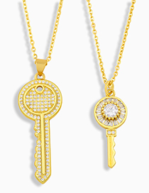 Fashion A Diamond Key Necklace