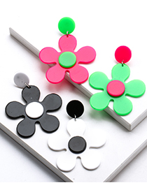 Fashion Black+white Acrylic Flower Stud Earrings