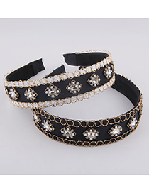 Fashion White Broad-edged Diamond-studded Pearl Gold-wire Wrapped Headband