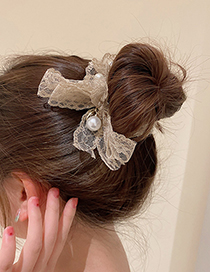 Fashion Black Pearl Lace Bow Hair Rope