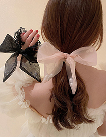Fashion Black Pearl Gauze Bow Lace Hair Rope