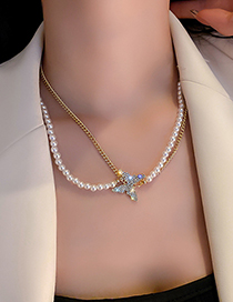 Fashion Gold Color Pearl And Diamond Butterfly Double Necklace