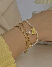 Fashion Gold Color Chain Pearl Love Multilayer Bracelet