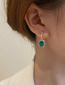 Fashion Green Gem Full Diamond Geometric Square Earrings