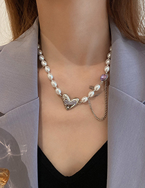 Fashion Silver Color Metal Love Chain Pearl Necklace