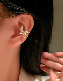 Fashion Gold Color Full Rhinestone Butterfly Stud Earrings