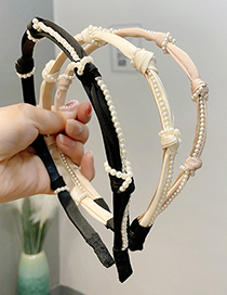 Fashion White Pearl Knotted Fabric Hair Hoop