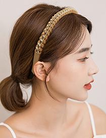 Fashion White Leather Cross Metal Chain Braided Headband