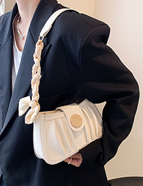 Fashion White One-shoulder Pleated Crossbody Bag