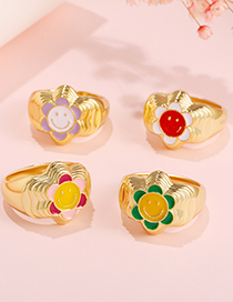 Fashion Color 4 Smiley Flower Dripping Oil Ring