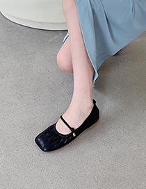 Fashion Black Mid-heel Buckled Low-heel Shoes