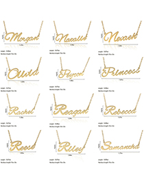 Fashion Morgan-gold Stainless Steel English Letter Necklace