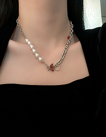 Fashion Silver Titanium Steel Crystal Pearl Butterfly Necklace