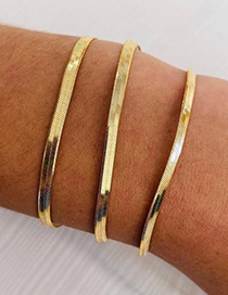 Fashion Steel Color 3mm-16.5cm Stainless Steel Gold-plated Flat Snake Chain Bracelet