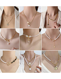 Fashion 13 # Pearl Splicing Letter Love Bow Necklace