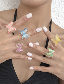 Fashion Pink Acrylic Resin Butterfly Ring