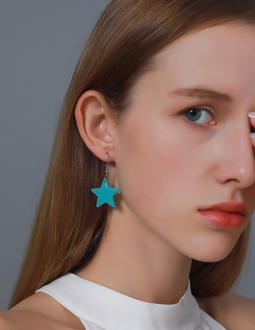 Fashion Green Resin Five-pointed Star Earrings
