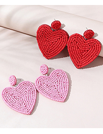Fashion Pink Rice Beads Beaded Love Alloy Earrings