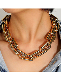 Fashion Gold Color Thick Chain Geometric Hollow Necklace