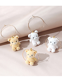 Fashion Yellow Cashmere Bear Round Alloy Earrings