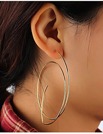 Fashion Golden Line Geometric Hollow Earrings