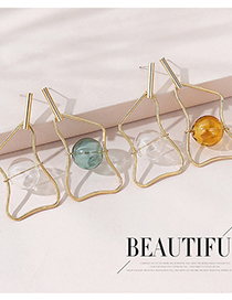 Fashion White+green Real Gold-plated Hollow Geometric Earrings
