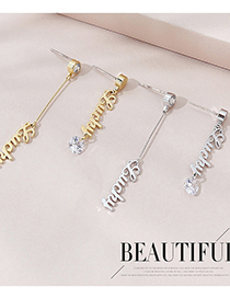 Fashion K Gold Real Gold Plated Asymmetric Letter Earrings