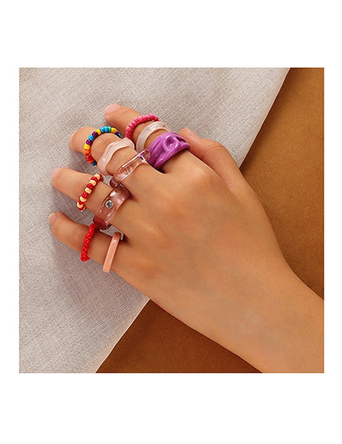 Fashion Color Resin Rice Beads Beaded Ring Set