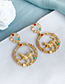 Fashion Blue Color Alloy Chain Round Leopard Earrings