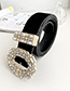 Fashion Black Alloy Diamond-studded Oval Belt
