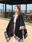 Fashion Grid Edge Black Imitation Cashmere Scarf Shawl Dual Purpose